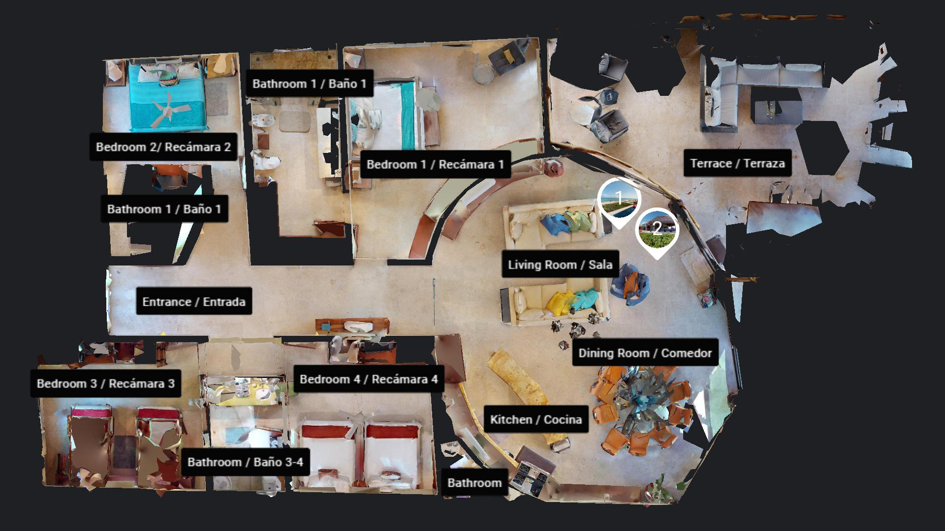 Floor Plan for Astonishing Beachfront Villa in Playacar w/pool excellent choice for groups and families